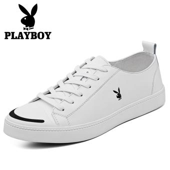 PLAYBOY Korea Fashion Style Kulit Putih Laki-laki Sepatu Kets Putih Sepatu Pria (Putih