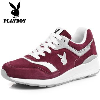 Jual PLAYBOY Korea Fashion Style Kulit Sol Tebal Sepatu Katun Sepatu Wanita Musim Dingin Baru Olahraga Sepatu (Anggur merah) Online