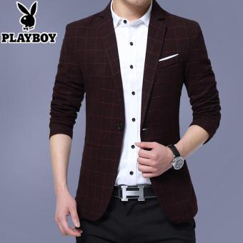 ... Jaket Empuk sky Blue Source · PLAYBOY Korea Fashion Style laki laki Slim setelan kecil Anggur merah