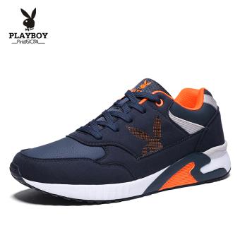 PLAYBOY Korea Fashion Style model musim gugur pasang sepatu kasual sepatu pria sepatu olahraga (Biru tua)