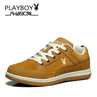 PLAYBOY Korea Fashion Style Muda Datar Sepatu Skateboard Musim Gugur Sepatu Pria (Kuning Coklat)