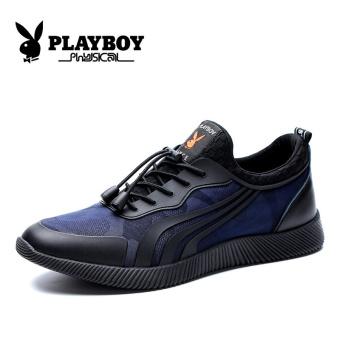 PLAYBOY Korea Fashion Style Tambah Beludru Pria Kebugaran Kasual Sepatu Sepatu Pria (Biru Tua)