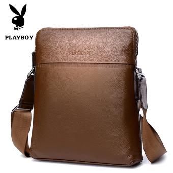 PLAYBOY kulit bagian vertikal kecil tas kulit lembut tas tas pria (Coklat)