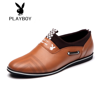 PLAYBOY kulit pria sepatu sepatu sepatu pria (Coklat kekuningan 800351)