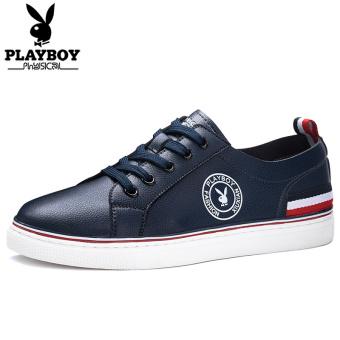 Harga PLAYBOY kulit putih flat shoes sepatu sepatu papan pria (Biru tua   single-layer kulit ) 92826d0e2a