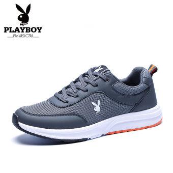 PLAYBOY laki-laki bernapas sepatu lari sepatu musim gugur sepatu pria (Abu-abu gelap)