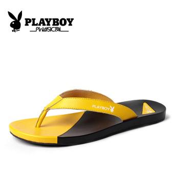 harga PLAYBOY laki-laki musim panas bernapas sepatu pasang sandal (Hitam dan kuning) Lazada.co.id