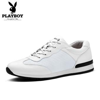 PLAYBOY Modis Musim Gugur Baru Putaran Sepatu Sepatu Sepatu Pria (Putih)