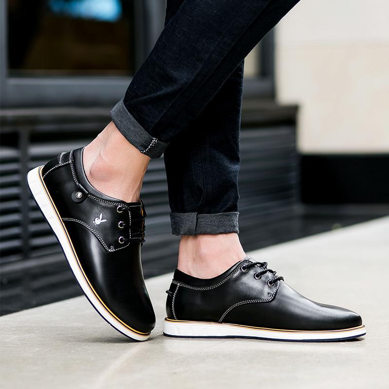 Flash Sale PLAYBOY musim gugur baru pria sepatu kulit (Hitam)