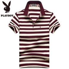 PLAYBOY pria kasual bagian tipis kemeja bergaris-garis POLO t-shirt (Anggur merah