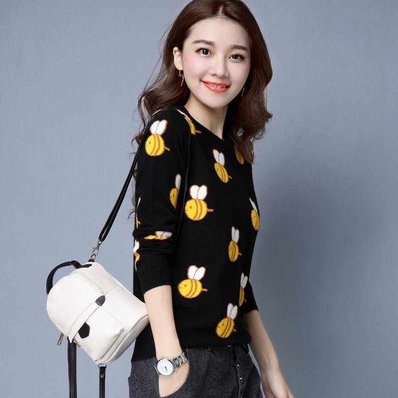 Flash Sale Pola Korea Fashion Style Perempuan Lindung Nilai Leher Bulat Rajutan Sweter Musim Gugur Dan
