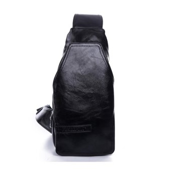 Polo Men fashion chest bag leisure package male Korean sports leather shoulder bag (Black) - intl