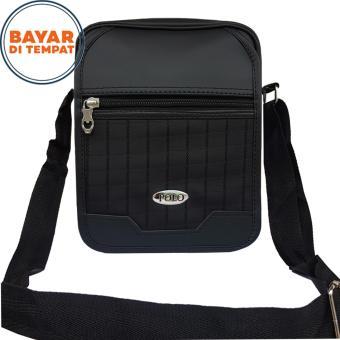 Polo Star's Tas Selempang Kulit Pria 6113 PU Leather 8 Inchi Waterproof - Black