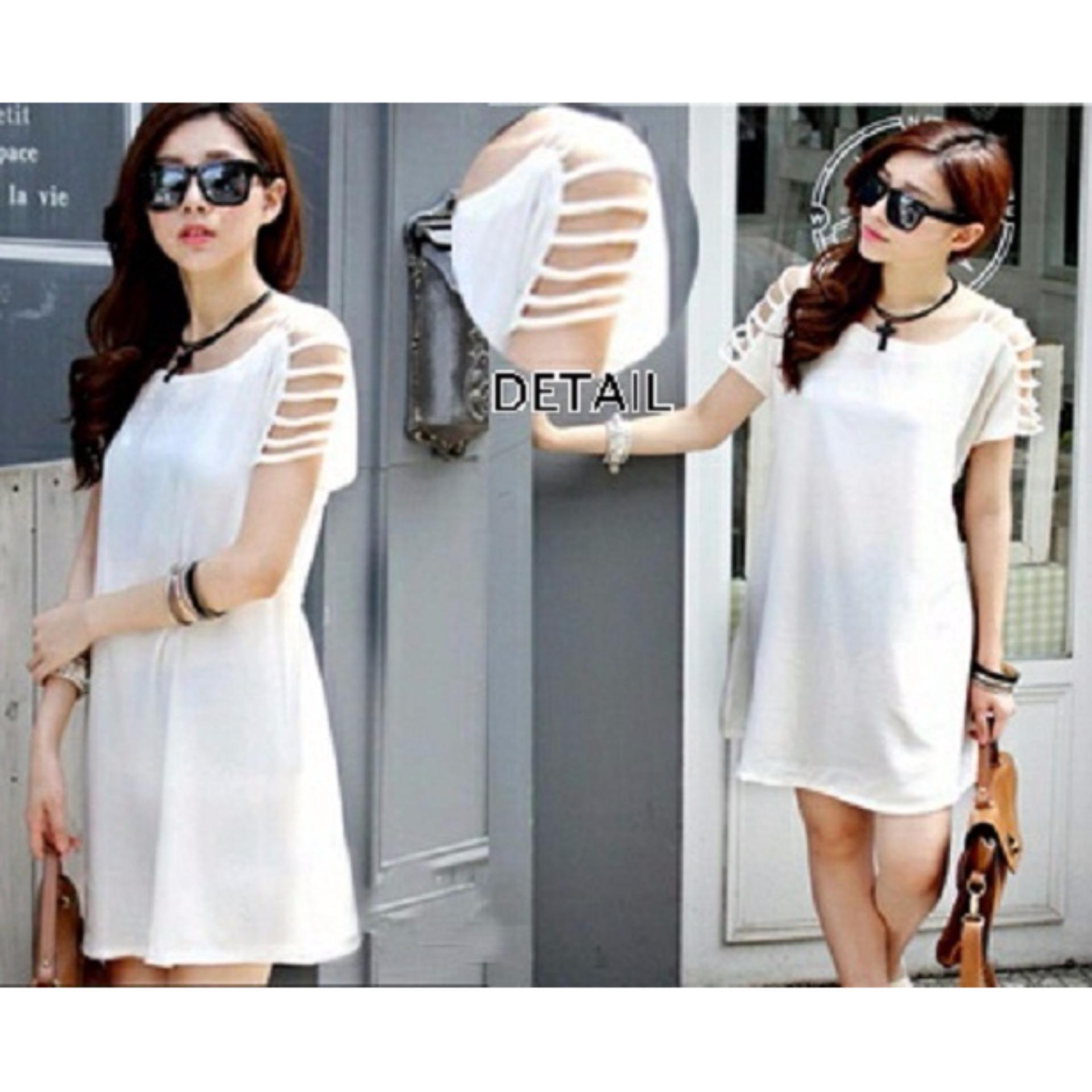 Popuri Fashion Baju Dress Tali Lidel Wanita - Twiscone Lengan Pendek - Putih