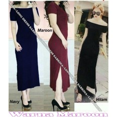 Popuri Fashion Baju Long Dress Sabrina Benefiel Wanita - Spandek Lengan Pendek - Maroon