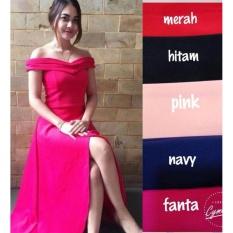 Popuri Fashion Baju Long Dress Sabrina Emelia Wanita - Wedges Scuba Lengan Pendek - Pink