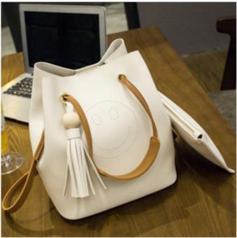 Portabel tas rumbai perempuan tas besar tas tas bahu (Senyum putih)