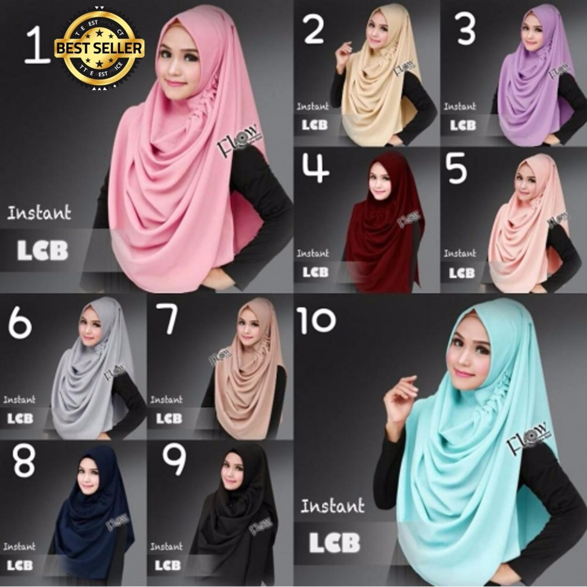Flash Sale Premium Hijab Impor Jilbab Instan Lcb Najwa Kaos Katun Tc Biru Instant Khimar Syari
