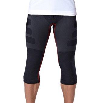 Pria Capri celana ketat kebugaran ruang olahraga cepat-keringCelana Hitam dengan Merah