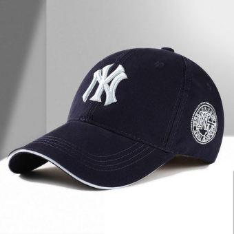 ... panas outdoor santai pria katun Cap topi Baseball Fashion olahraga topi kerai Cap - biru tua - Internasional. Pria dan wanita muda topi baseball topi ...