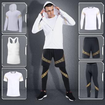 Sapphire Robina Beli Pria Jas Lengan Panjang Cepat Kering Legging Pakaian Kebugaran Pakaian 6 Set Emas Putih Ori
