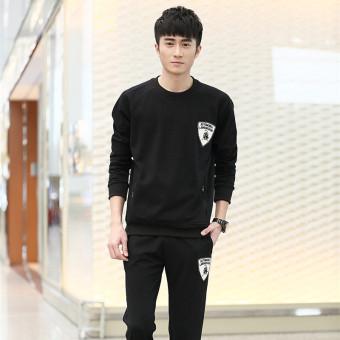 Jual Pria Kasual Olahraga Olahraga Leher Bulat Lengan Panjang Sweater (Hitam) (Hitam) Murah