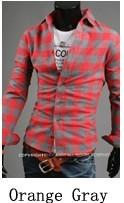 Jual Pria Korea Fashion Style Pria Slim Atasan Lengan Panjang Kotak Kotak Kemeja Oranye Abu Abu