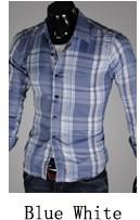 Jual Pria Korea Fashion Style Pria Slim Atasan Lengan Panjang Kotak Kotak Kemeja Putih Biru