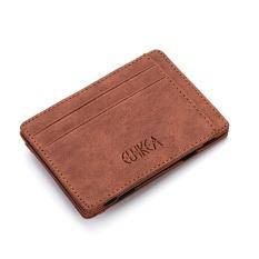 Pria Slim Billfold Dompet Kulit PU Pemegang Kartu Kredit Coin Money Clip Zip Bag Coffee-Intl