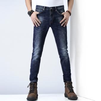 Periksa Peringkat Pria Slim celana stretch kaki celana musim gugur baru celana jeans (Biru)