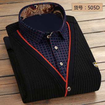 Pria Slim sweater hangat baju kemeja (VL505D [ditambah beludru palsu dua])