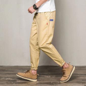 Gambar Pria ukuran besar celana kasual celana baru (Khaki)