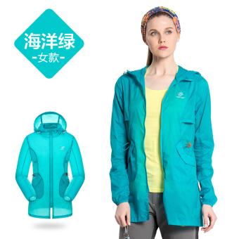 Probe Ekstensi luar ruangan pantai pakaian perempuan bagian panjang pakaian kulit perlindungan matahari pakaian ((6072 kasual model) Ocean hijau)