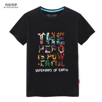 Putih pria leher bulat longgar lengan pendek t-shirt t-shirt (Justice League