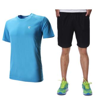 Qiaodan kasual laki-laki lengan pendek celana pendek joging kebugaran pakaian kebugaran pakaian (+ Langit biru abu-abu gelap)