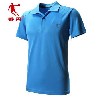 Qiaodan laki-laki lengan pendek ringan bernapas cepat kering kebugaran pakaian kebugaran pakaian (Danau Biru)