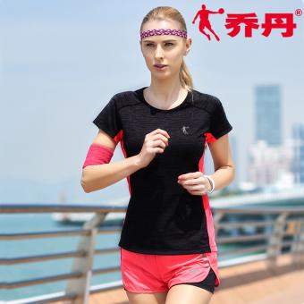 Qiaodan Shishang musim panas baru merajut lengan pendek kebugaran pakaian (Hitam dan abu-abu/PARADISE bubuk)