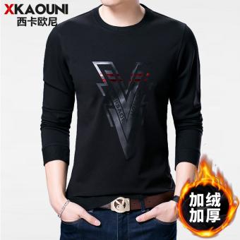 Harga Penawaran Qiudong ditambah beludru muda kemeja leher bulat tebal lengan panjang t-shirt (