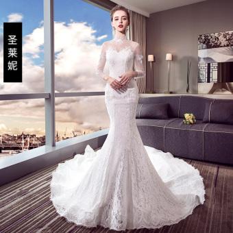 Qiudong Korea Fashion Style baru fishtail besar pengantin gaun (Gambar warna)