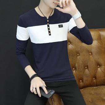Perbandingan harga Qiudong Korea Fashion Style baru Slim muda pakaian dalam  termal t-shirt (207 biru tua) Harga Saya 84cf34fa02