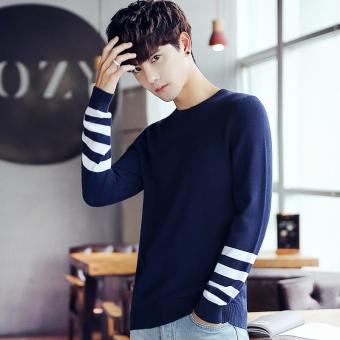 Belanja Terbaik Qiudong Korea Fashion Style laki-laki mahasiswa sweater  sweater bagian tipis sweater sweater pria (Biru) Price Checker 72d36481cd