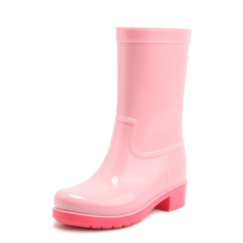 Qiudong Shishang hangat non-slip sepatu bot hujan sepatu dewasa (Model perempuan + Merah