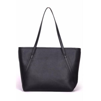 QuincyLabel Tas Wanita Women Fashion PU Tote Leather Handbags Shoulder Bags - Hitam