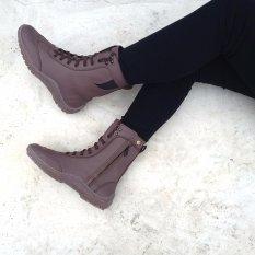 R06 Jangkung sepatu casual boots handmade kulit coklat size 40