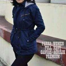 R2G Store Jaket Parka Wanita - Canvas - Bolak-Balik - Biru Dongker