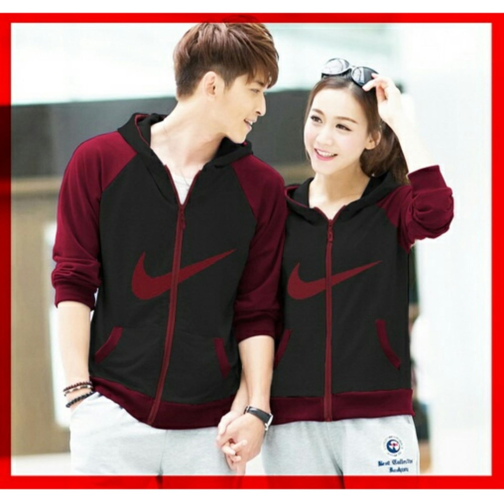 Flash Sale RatuCouple Jaket Pasangan Model N / Jacket Couple Just Do It / Jaket Sepasang / Jacket Girl & Jaket Pria LC - Maroon