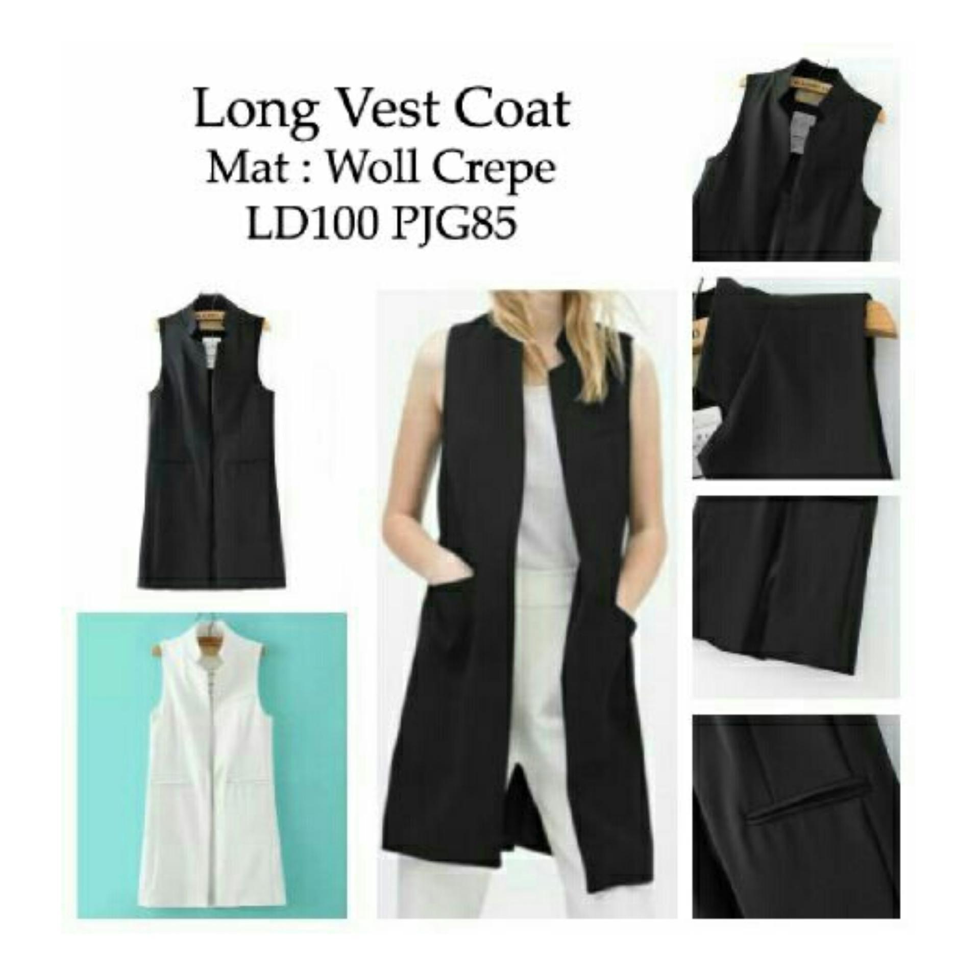 Flash Sale RatuCouple Vest Ignacia / Cardingan / Long Vest Coat / Jaket Rompi Wanita NR - Hitam