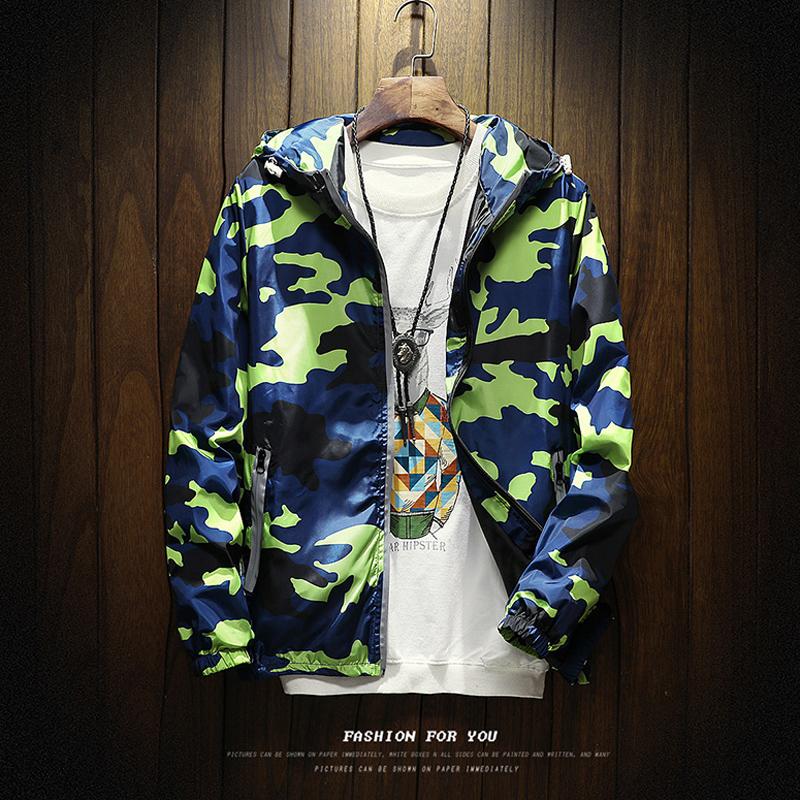 Flash Sale Remaja Korea longgar di mantel jaket (Hijau kamuflase)
