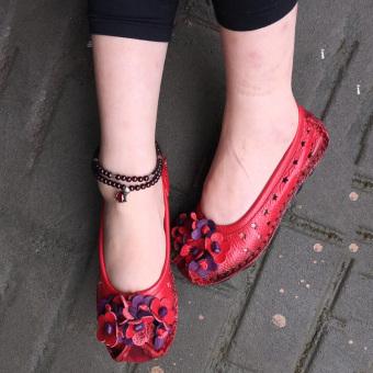 Retro Asli Rajut Sepatu Wanita (Lubang lubang model merah) (Lubang lubang model merah