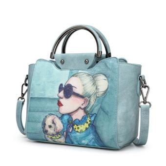 Retro bahu Messenger wanita tas tas tas tas kecil (Air biru)